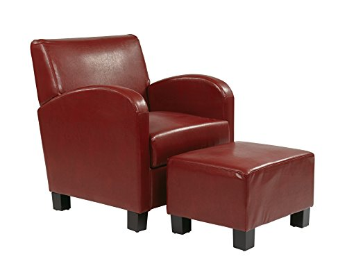 Office Star Metro Club Chair with Ottoman in Eco Leather, Crimson Red - Crimson Accent