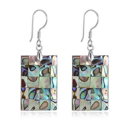 FM FM42 Women's Abalone Shell Square Shape Charm Drop Hook Earrings ZE1028