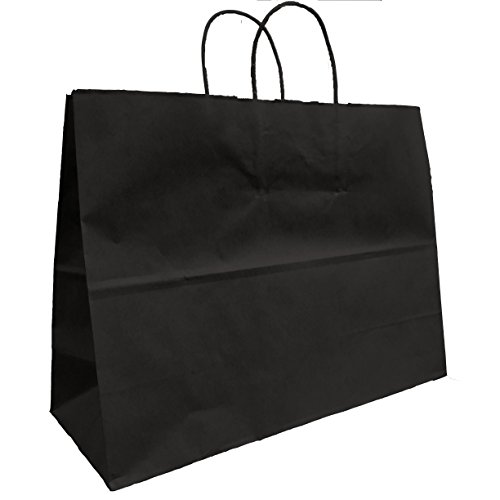 Black Bags, Extra Large Kraft Paper Gift Wrap Shopping Bags, (Vogue Size 16W x 12H x 6), 25 Bags, Made in USA