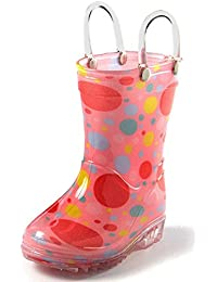 Toddler and Kids Rain Boots with Easy On Handles - Boys and Girls Colors and Designs – by