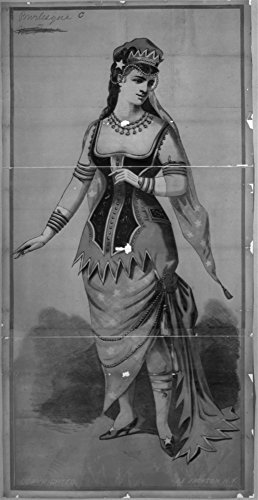 1880 Photo J.E. Jackson burlesque C Chorus girl in long costume with snake jewelry and hat with (Professional Burlesque Costumes)
