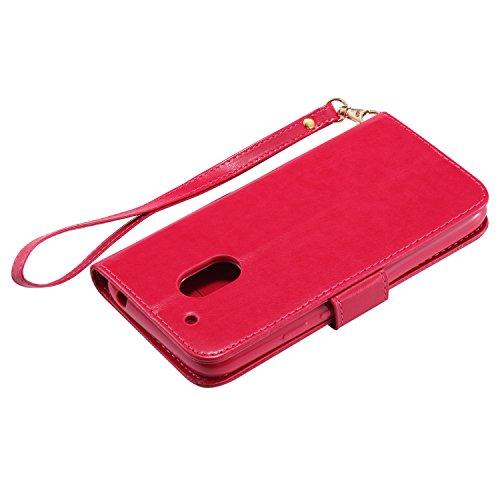Ecoway Para Motorola Moto G4 / G4 Plus Funda, (azul)Noctilucent Cuero de la PU Leather Cubierta - Series de tiempo de ocio niña , Función de Soporte Billetera con Tapa para Tarjetas Soporte para Teléf Rosa roja