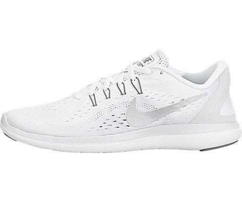 Nike Women's Flex 2017 RN White/Metallic/Silver Running Shoe 6 Women US