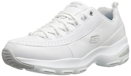 Skechers Sport Women's D'Lite Ultra-Illusions Fashion Sneaker, WHITE SILVER, 6 M US