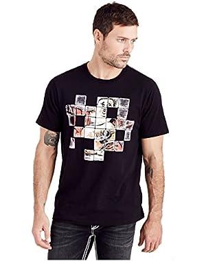 Men's Buddha Check Crew Neck Tee T-Shirt