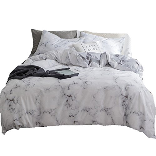 Jane yre Super Soft Twin Duvet Cover Set White Marble,3 Piece-Best Bed Sheet 100% Cotton with Zipper Closure, Best Organic Modern Style for Men and Women
