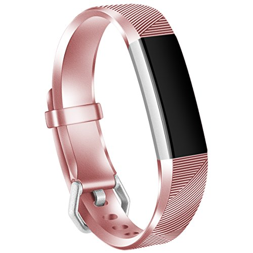 Maledan Replacement Accessories Bands Compatible for Fitbit Alta and Alta HR, Rose Pink Large