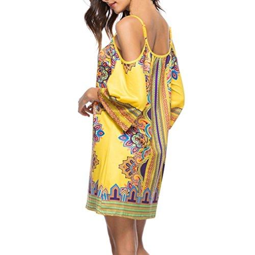 Lâche National Vêtements Jupe Strap Adeshop Jaune Droite Femmes Mini Casual Wind Robe Unique Imprimé Élasticité Sling Dress Été Élégant Chic SSYaqR6
