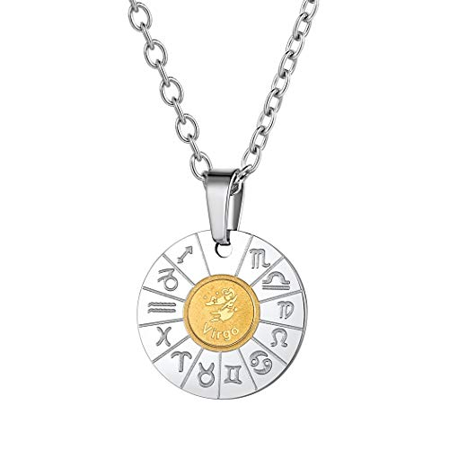 Stainless Steel Zodiac Sign Virgo Coin Pendant Boho Jewelry Gold Plated Two-Toned Constellation Horoscope Charm Necklace Birthday Gifts for Men Women