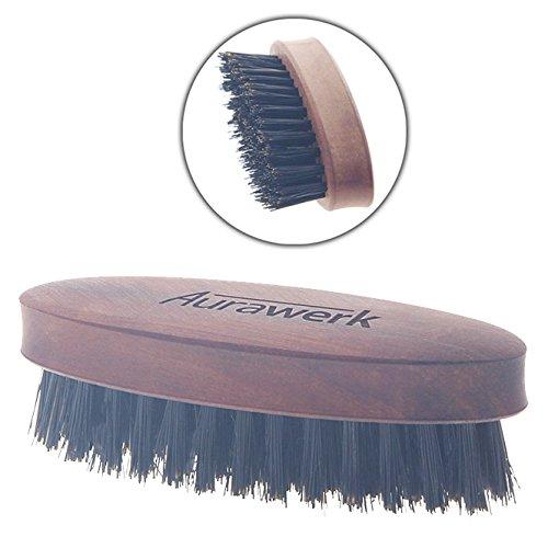 Herren Bartbürste, Aurawerk Wildschweinborste auf Birnbaumholz 8cm, oval, für Schnauzer und Braue.