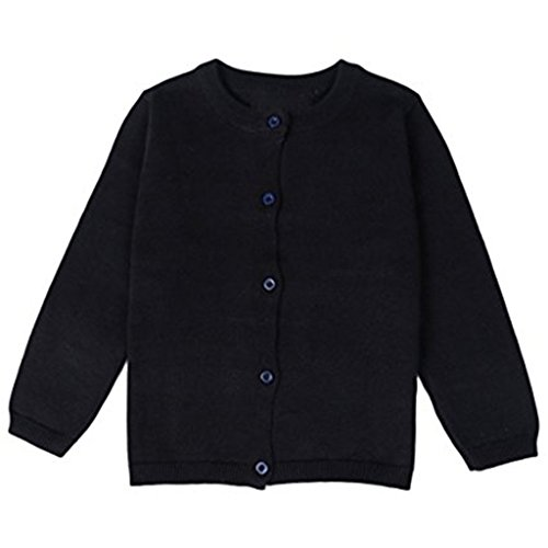 (JELEUON Little Girls Cute Crew Neck Button-Down Solid Fine Knit Cardigan Sweaters 3-4 Years Black)