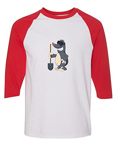 mole-with-spade-3-4-sleeve-raglan-kids-t-shirt-toddler-baseball-tee-white-red-4t