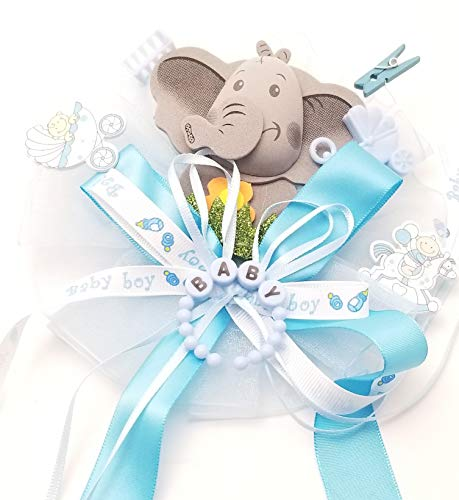 Baby Shower Corsage Ribbons & Elephant - Mommy to Be Party Decoration (Blue) (Mommy To Be Corsage For Baby Shower)