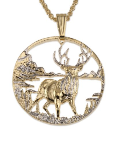 Elk Pendant & Necklace, Private Mint Medallion Hand Cut ()