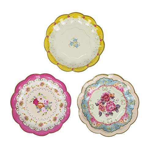 Birthday Treat Plate - Talking Tables Tea Party Vintage Floral Paper Plates | Truly Scrumptious | Also Great For Birthday Party, Baby Shower, Wedding And Anniversary | 12 Count