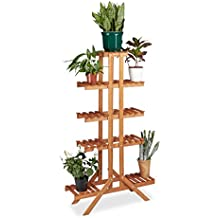 Relaxdays Flower Stand with 5 Tiers, Wooden, Indoor Flower Rack, Multi-Shelf, HxWxD: ca 142.5 x 83 x 28.5 cm, Light Brown