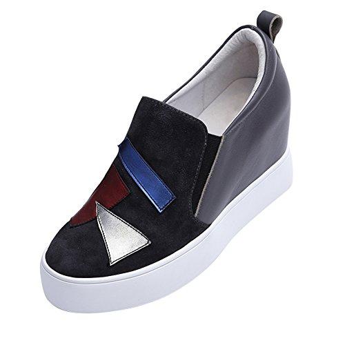 PUMPS Verdicken Sie Plateauschuhen,Slipsole Dünne Schuhe,Leder Freizeitschuhe,Inner-Erhöhung Damenschuhe-B Fußlänge=24.3CM(9.6Inch)