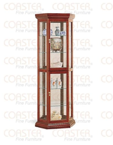 Coaster Solid Wood Corner Style Glass China Curio Cabinet, Cherry (Style Solid Wood China Cabinet)