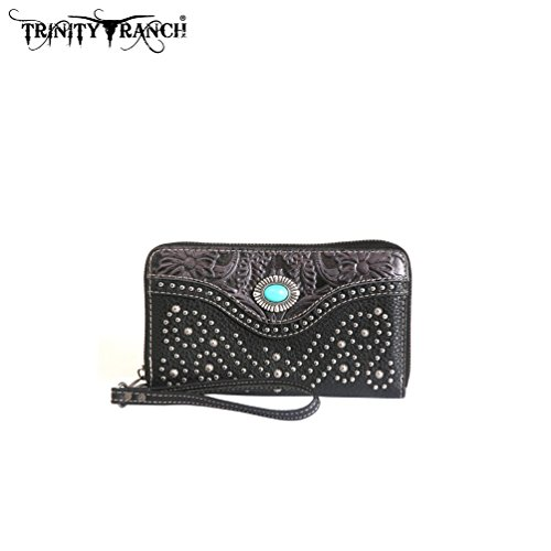 Montana West Trinity Ranch Tooled Design Swirl Studs Collection (Black Wallet) - Trinity Design