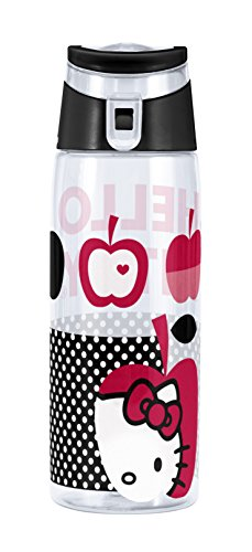 Zak! Designs Tritan Water Bottle with Flip-top Cap with Black and White Hello Kitty Graphics, Break-resistant and BPA-Free Plastic, 25 - Water Kitty Hello Bottle