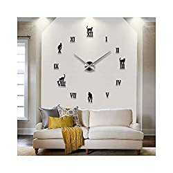 Alrens_DIY(TM) Personalized Cats Roman Numbers DIY Frameless 3D Big Mirror Surface Wall Clock Watches Living Room Bedroom Office Décor Decoration Self-adhesive Decor Wall Sticker Decal (MQ-015-Black)