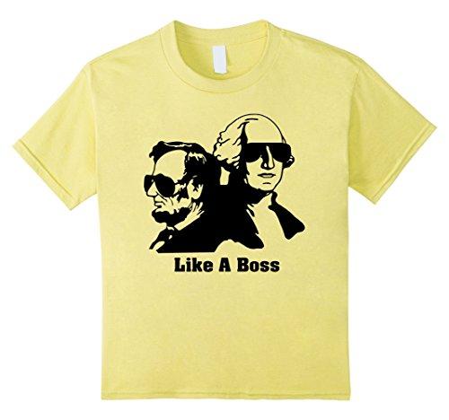 Kids Presidents Day Abe Lincoln George Washington Tee Shirt 8 Lemon