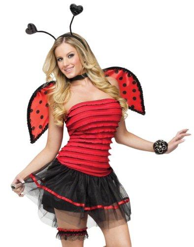 [FunWorld Lady Bug, Red/Black, Medium/Large 10-14 Costume] (Ladybug Halloween Costume Adults)