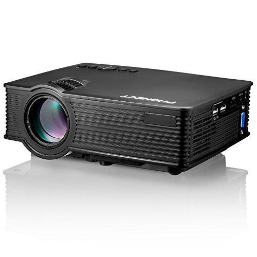 Mini Projector, PHONECT 2400 Lumens 170'' Display Portable Home Theater Movie Projector Support Full HD 1080P LED Video Projector Amazon Fire Stick HDMI USB SD Card VGA AV TV Laptop PS4 iPhone Android by PHONECT