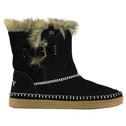 Roxy Mujer Ashley Botas Hebilla Tobillo Zapatos Cuero Piel Sintetica Forro Negro