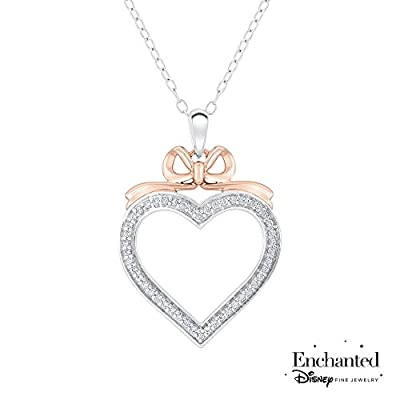 Enchanted Disney Snow White's Bow Diamond Heart Pendant 1/5ctw by Enchanted Disney