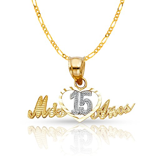 14K Two Tone Gold Sweet 15 Years Quinceanera Heart Mis 15 Anos Charm Pendant with 1.6mm Figaro 3+1 Chain Necklace - 16