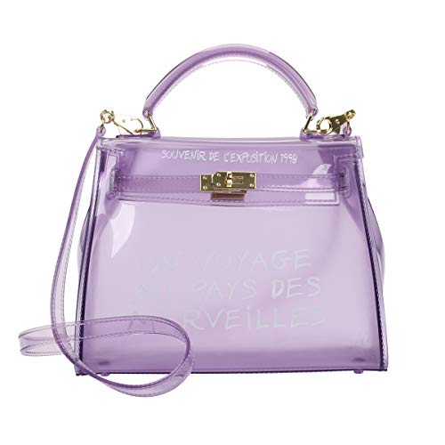 Poxas Top-handle PVC Womens Shoulder Bags Jelly Candy Color Ladies Handbags Crossbody Bag (Small, Purple) -