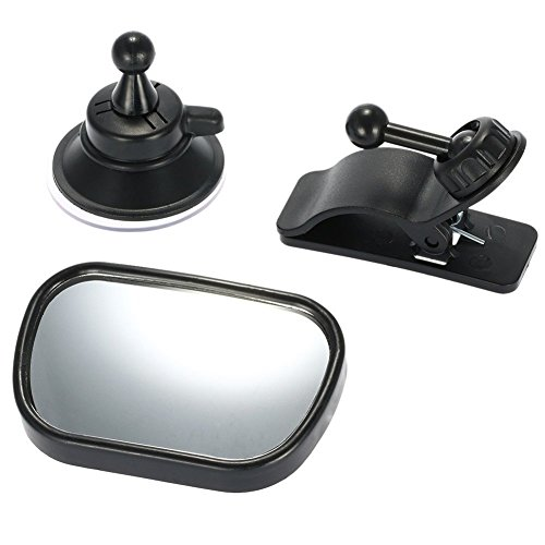 Baby Car Mirror - Rear View Baby Car Back Seat Mirror - Wide Convex Shatterproof Glass - Suction Cup on Windshield/Clip on Car Sun Visor