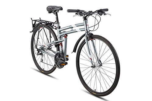 Montague Urban Folding 700c Pavement Hybrid Bike 21-Speed Bike with 35mm Tires and a Rear Rack - Smoke Silver 17' Frame