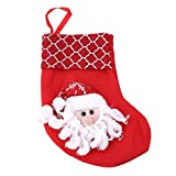 Xeminor Premium Quality Christmas Stockings Hangers,Xmas Gift Socks Bags,Christmas Holiday Stockings,Red Santa Style