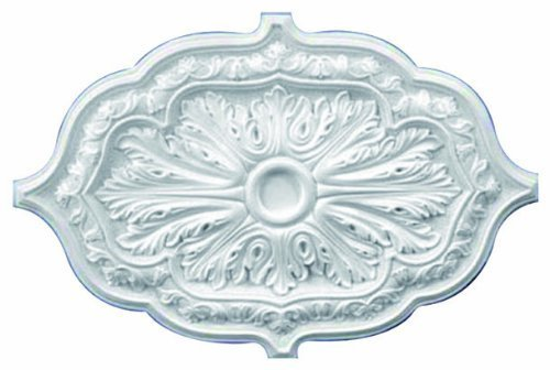 36 Inch by 26'' Oval Ceiling Medallion White Primed Polyurethane #598 By Designer's Edge Millwork