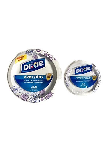 Dixie Everyday Paper Plate Bundle, Large and Small, Dinner (44 ct) and Dessert (50 ct) by Dixie