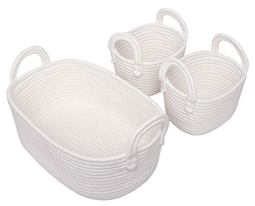 Storage Baskets Baby (Woven Basket Set of 3 - Storage Cotton Rope Baskets, Small Baby White Organizer Bin for Nursery Laundry Kids Toy)