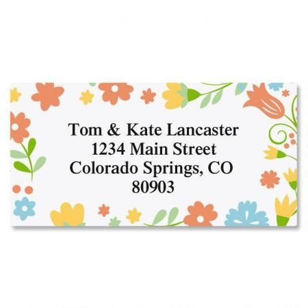 Floral Stencil Personalized Border Return Address labels- Set of 144 1-1/8