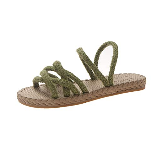 Aunimeifly Womens Front & Rear Strap Slippers Ladies Vintage Woven Flat Casual Beach Shoes Cane Bottom Sandals Green