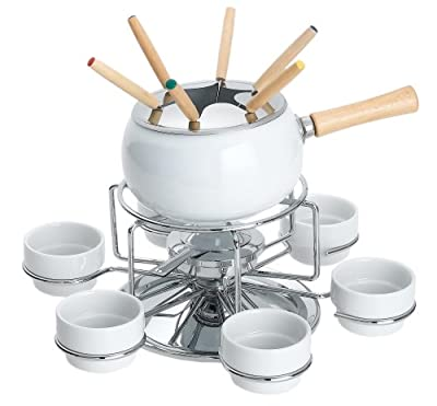 Max Burton 15 Piece Fondue Set with Deluxe Revolving Lazy Susan
