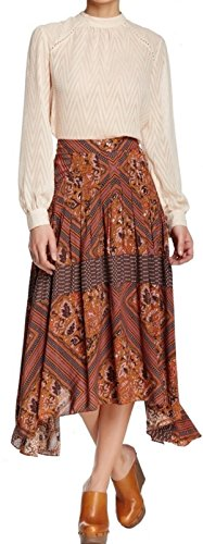 Free-People-Womens-Printed-Paradise-Midi-Skirt-Amber-Combo