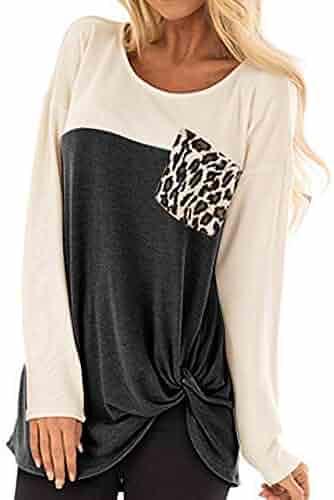 AOJIAN Blouse Women Long Sleeve T ShirtLeopard Pocket Twist Knot Tunic Tees Tank Shirts Tops