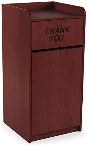 Displays2Go 36 Gallon Commercial Waste Bin, Top Tray Holder, Swinging Door, Graphic, Melamine - Special Mahogany (LCKDPZTRSM) (Thank You Garbage Can)