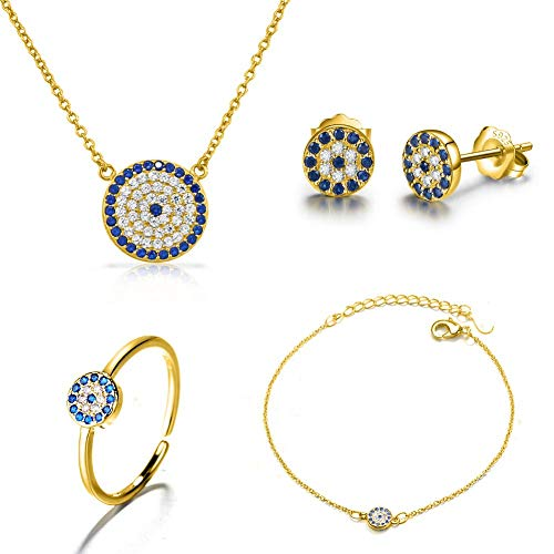 I'S ISAACSONG 925 Sterling Silver Inspirational Blue Cubic Zirconia Crystal Evil Eye Charm Pendant Necklace, Ring, Bracelet and Earring Jewelry Set for Girl Women (Gold Evil Eye (Blue Crystal Eyes Ear Cuff)