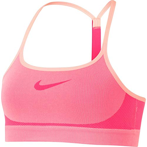 Nike Girl`s Seamless Sports Bra (Lt Fusion Red(890289-814)/Racer Pink, Small) - Fusion Sports Bra