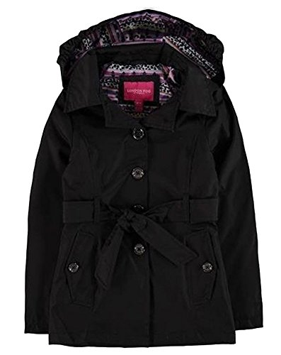 London Fog Girls' Radiance Trench Coat - Black - 14/16