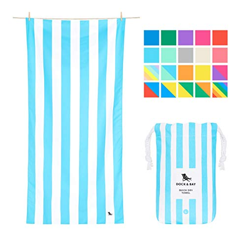 Quick Dry Beach Towels Pastel - Tulum Blue, Large (160x80cm, 63x31) - Quick Dry Towel for Swimming, Pastel Beach Towel