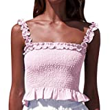 Fashion Womens Tank Tops Sleeveless Lace-Neck Sling Vest Ruffle Hem Blouse (S, Pink)