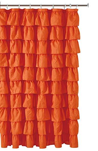 Ruffled Orange Fabric Shower Curtain (Orange Fabric Curtain)